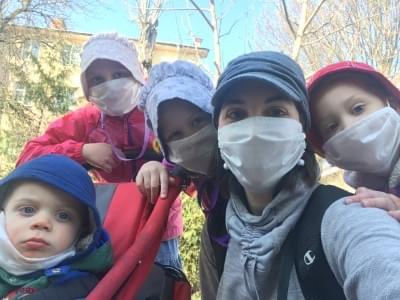 Katelin and kids in masks